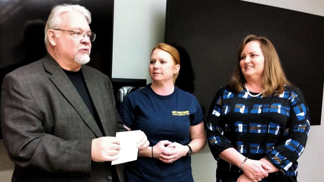 Leawood Stage Company Community Theatre near Kansas City donating to C KS Metro Animal Response Team