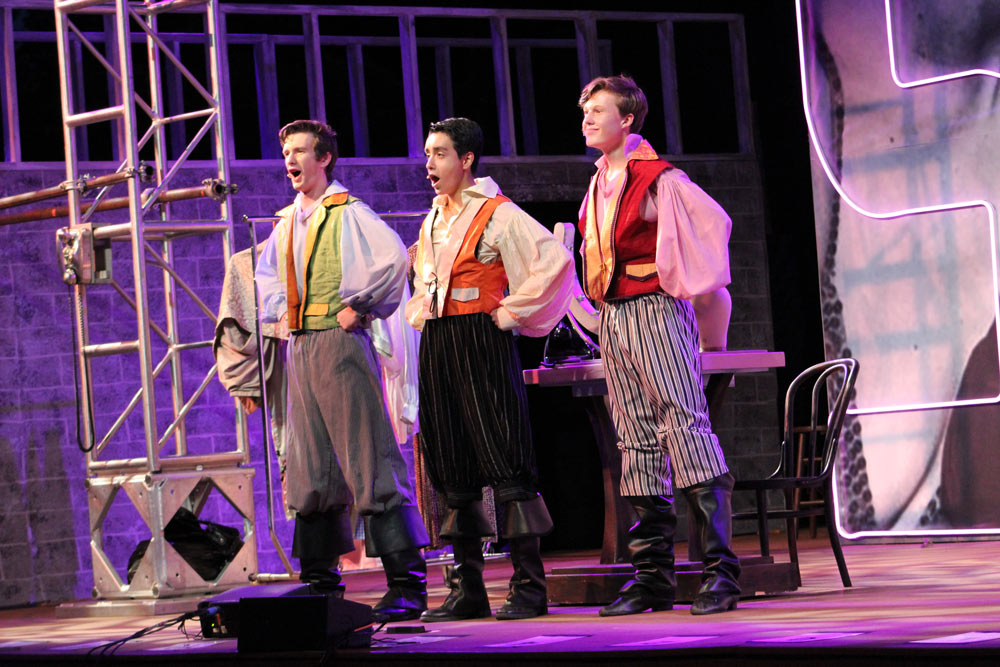 Three community theater dancers performing in the Leawood Stage Company summer musical Kiss Me Kate near Kansas City