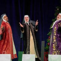 A group of community theatre actors in Leawood Stage Company's musical Nuncrackers, a Nunsense Christmas Musical